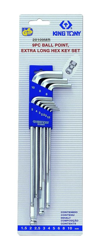 King Tony 9 pce Extra Long Ball Point Hex Key Set