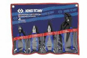King Tony 4 Pce European Plier Set Chrome Vanadium Alloy Steel