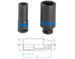 King Tony Individual Impact Deep Sockets 1/2 Inch Drive Metric 6 point